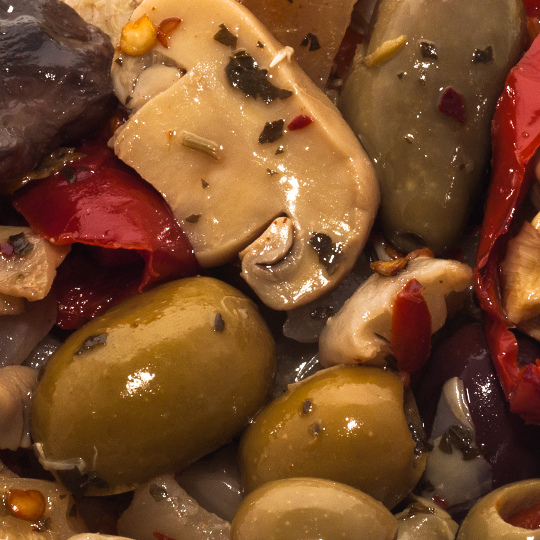 Hot Mixed Vegetables with mushrooms in Oil